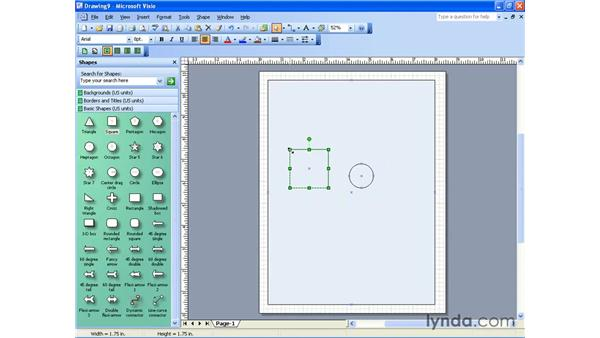 moving, resizing and deleting : Visio 2003 Essential Training