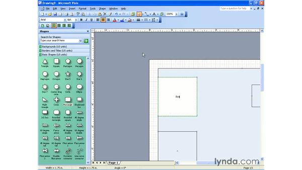adding text to a shape: Visio 2003 Essential Training