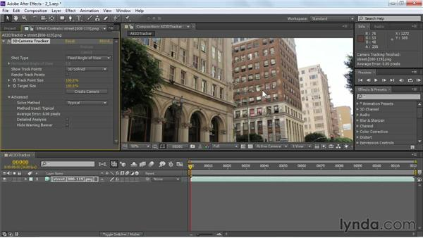Applying the 3D Camera Tracker: VFX Techniques: Building Replacement with After Effects