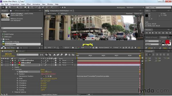 Tracking additional foreground elements: VFX Techniques: Building Replacement with After Effects