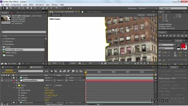 Transform tracking a matte: VFX Techniques: Building Replacement with After Effects