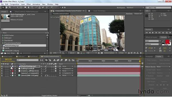 Applying artwork to a tracked null: VFX Techniques: Building Replacement with After Effects