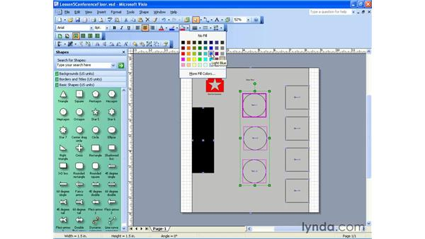 changing fill attributes: Visio 2003 Essential Training