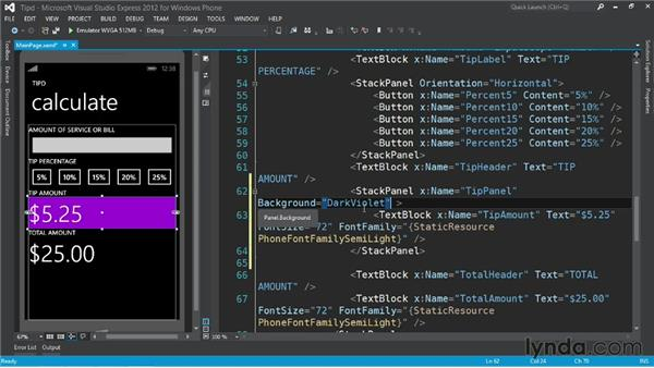 Changing colors: Up and Running with Windows Phone 8 Development