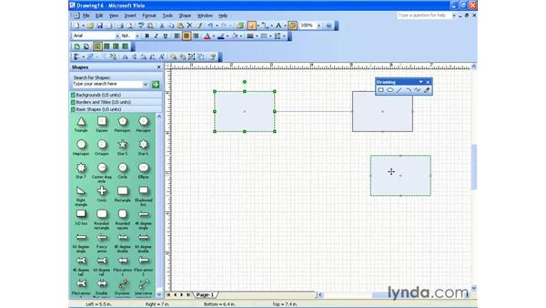 manually connecting shapes: Visio 2003 Essential Training