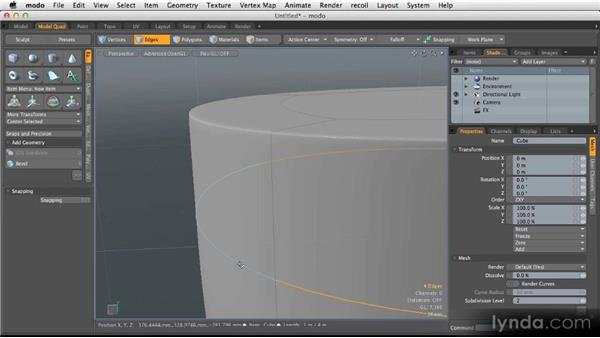 Creating creases with support edges: Modeling for Product Visualization in MODO