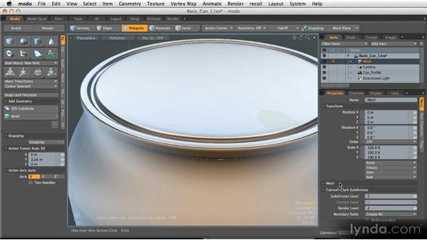 Finishing the soda can: Modeling for Product Visualization in MODO