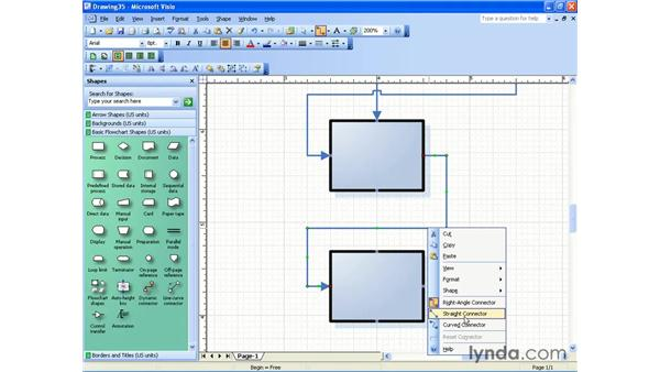 curved and straight connectors: Visio 2003 Essential Training