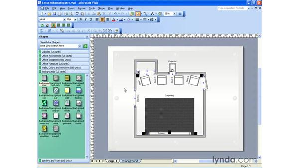 the backgrounds stencil: Visio 2003 Essential Training