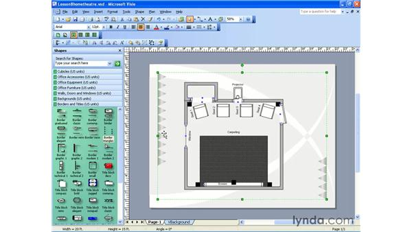 the borders and titles stencil: Visio 2003 Essential Training