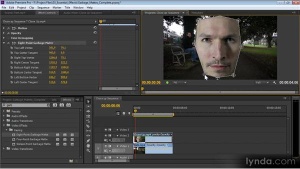 Garbage mattes: Premiere Pro CS6 Effects Workshop