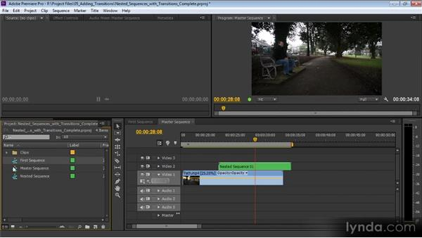 Nested sequences combined with transitions: Premiere Pro CS6 Effects Workshop