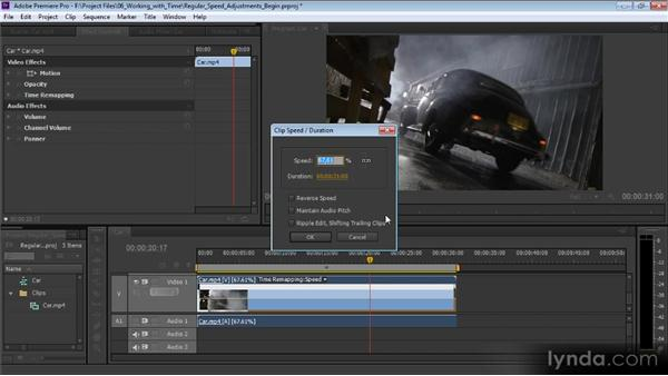 Regular speed adjustments: Premiere Pro CS6 Effects Workshop