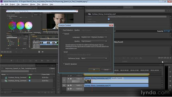 Improving speech-to-text analysis: Video Production with Creative Suite 6