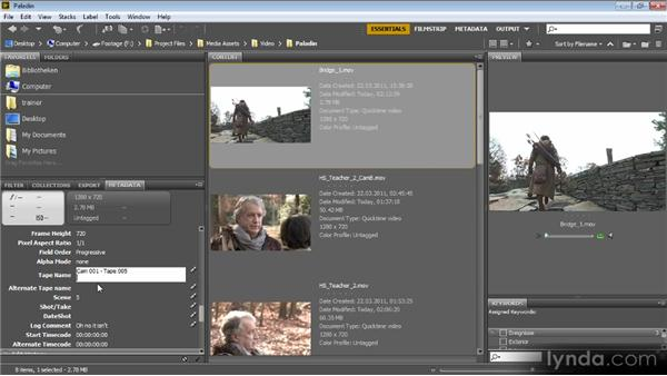 Editing metadata with Bridge: Video Production with Creative Suite 6