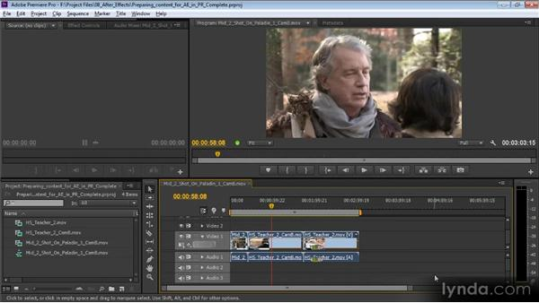 Preparing content for After Effects in Premiere Pro: Video Production with Creative Suite 6