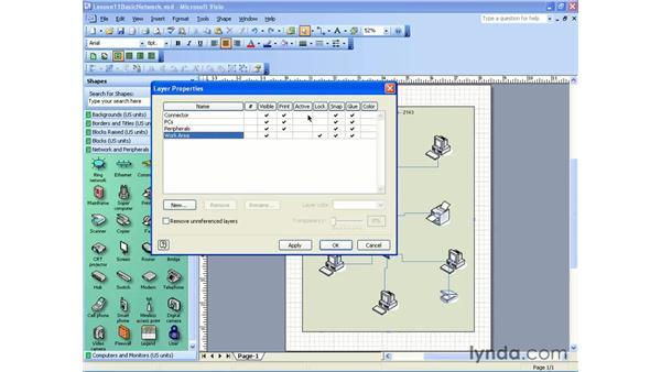 layer options: Visio 2003 Essential Training
