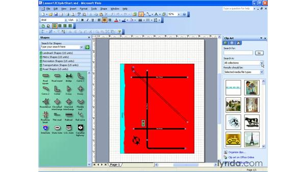 inserting clip art: Visio 2003 Essential Training
