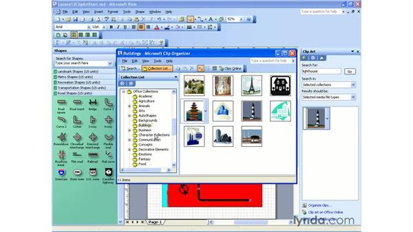 clip organizer: Visio 2003 Essential Training