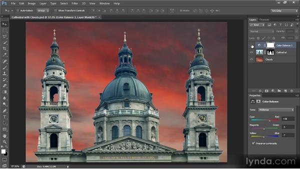 Applying layer-specific adjustments: Creating Composites in Photoshop
