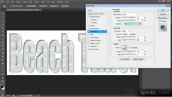 Using layer effects with text: Creating Composites in Photoshop