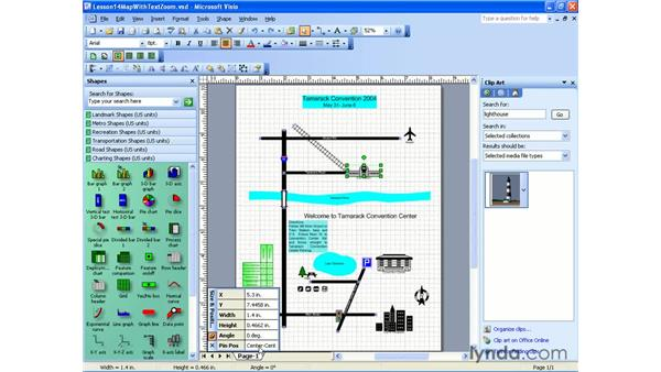 the size and position window: Visio 2003 Essential Training