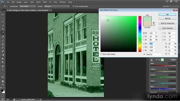 Adding a monochromatic tint effect: Photoshop Creative Effects and Filters