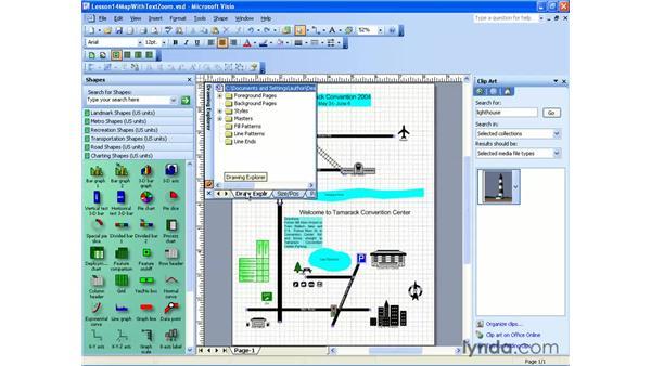 merging anchored windows: Visio 2003 Essential Training