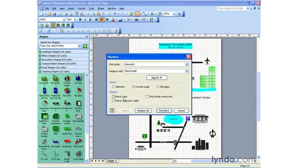 find and replace: Visio 2003 Essential Training
