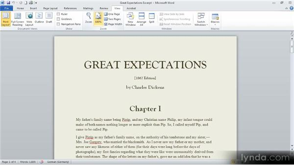 View options: Up and Running with Word 2010