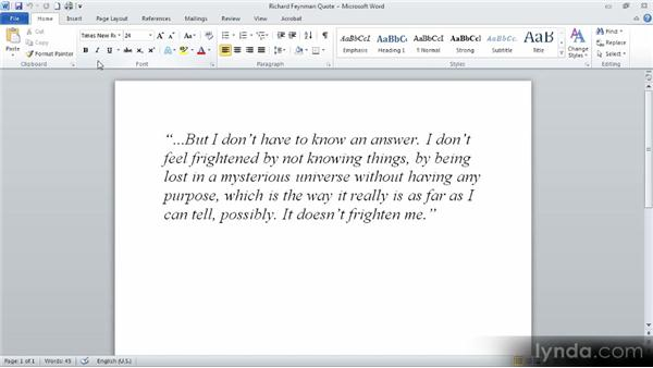 Formatting text as you type: Up and Running with Word 2010