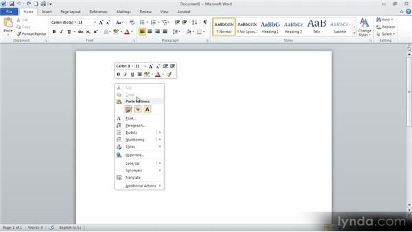 Clearing formatting: Up and Running with Word 2010
