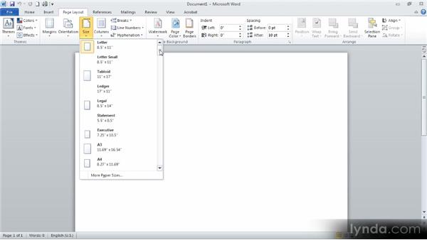 Overall document layout: Up and Running with Word 2010