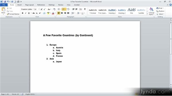 Creating bulleted and numbered lists: Up and Running with Word 2010