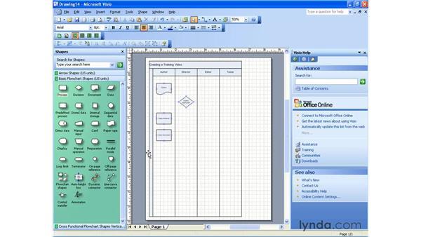 cross-functional flowcharts: Visio 2003 Essential Training