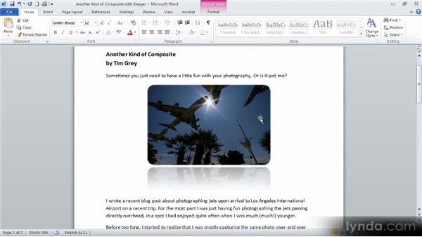 Updating images with effects and adjustments: Up and Running with Word 2010