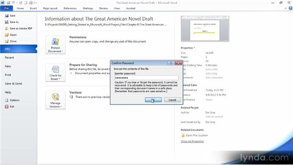 Password-protecting a document: Up and Running with Word 2010