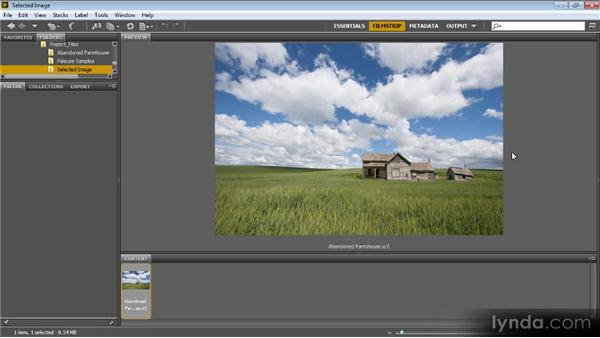 Evaluating and opening the selected image: Photoshop Artist in Action: Tim Grey's Abandoned Farmhouse