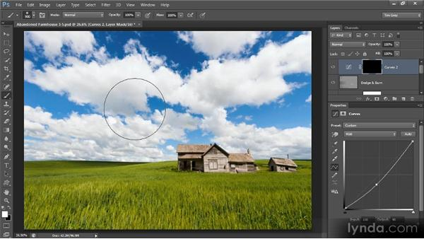 Making a targeted adjustment: Photoshop Artist in Action: Tim Grey's Abandoned Farmhouse