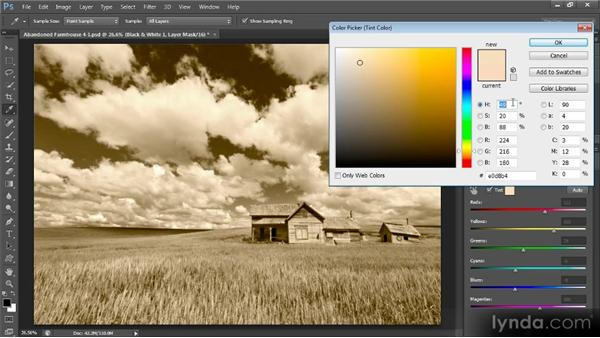 Adding a color tint: Photoshop Artist in Action: Tim Grey's Abandoned Farmhouse