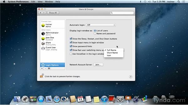 Logging in to a user account: Up and Running with Mac OS X Mountain Lion