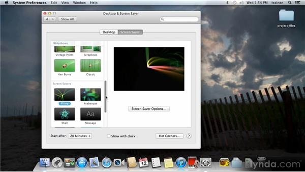 Setting the desktop and the screensaver: Up and Running with Mac OS X Mountain Lion