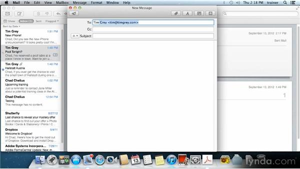 Working with messages: Up and Running with Mac OS X Mountain Lion