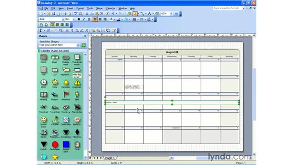 creating a calendar: Visio 2003 Essential Training
