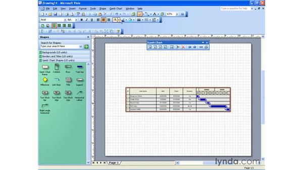 creating a Gantt chart: Visio 2003 Essential Training