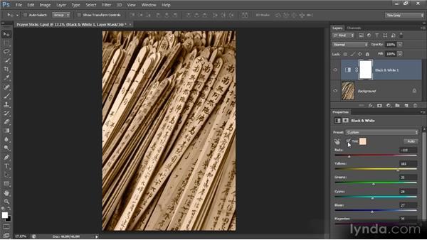 Adding a color tint: Photoshop Artist in Action: Tim Grey's Prayer Sticks