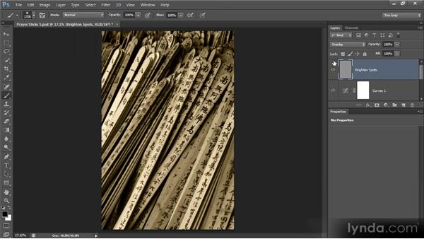 Brightening dark spots: Photoshop Artist in Action: Tim Grey's Prayer Sticks