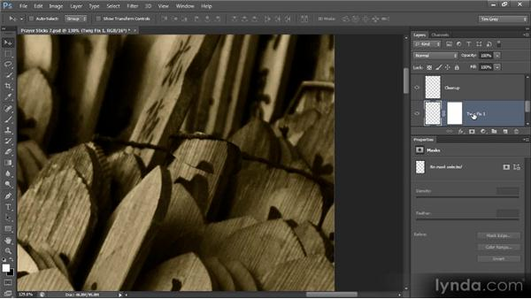 Removing a large distraction: Photoshop Artist in Action: Tim Grey's Prayer Sticks
