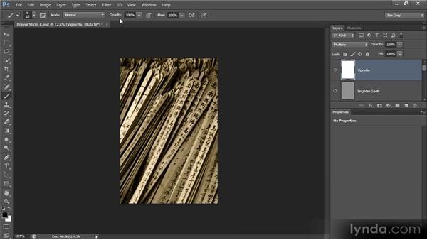 Adding a vignette: Photoshop Artist in Action: Tim Grey's Prayer Sticks