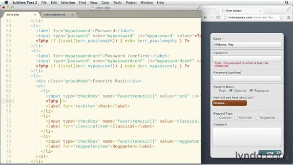 Mirroring input data back to the user: Validating and Processing Forms with JavaScript and PHP